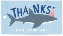 This is a blue kids gift tag by Karidy Walker called Shark Tank with standard printing on signature in sticker.