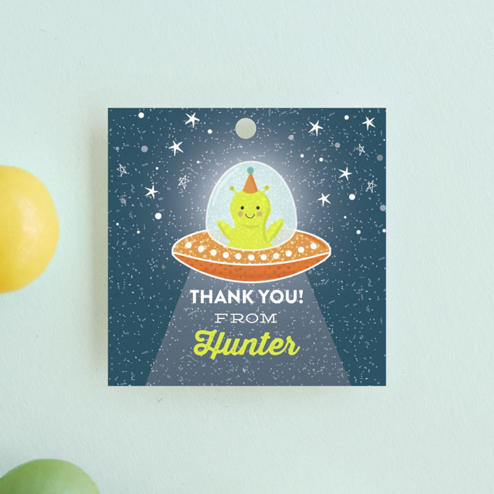 """""""Greetings, Earthlings."""" - Children's Birthday Party Favor Tags in Neptune by One Swell Studio."""