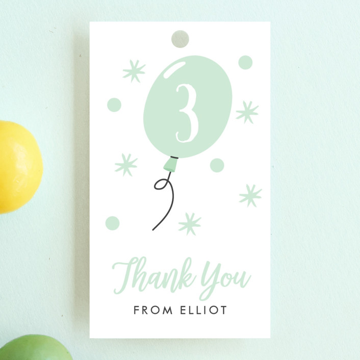 """""""Wild & Free"""" - Children's Birthday Party Favor Tags in Mint by Oma N. Ramkhelawan."""