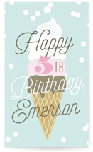 This is a blue kids gift tag by Alethea and Ruth called Ice Cream Cone with standard printing on signature in sticker.