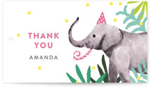 This is a green kids gift tag by Cass Loh called Jungle Party with standard printing on signature in sticker.