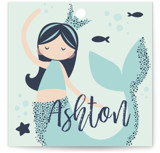 This is a blue kids gift tag by peetie design called Glitter Mermaid with standard printing on signature in sticker.