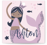 This is a purple kids gift tag by peetie design called Glitter Mermaid with standard printing on signature in sticker.