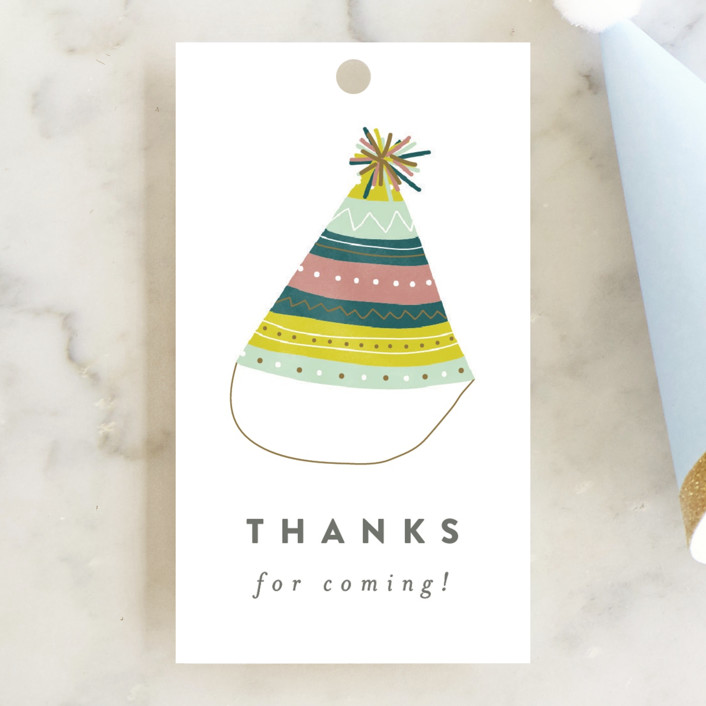 """Party Hat"" - Children's Birthday Party Favor Tags in Candy by peony papeterie."