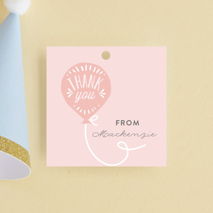 """""""Balloon"""" - Children's Birthday Party Favor Tags in Cotton Candy by Chasity Smith."""