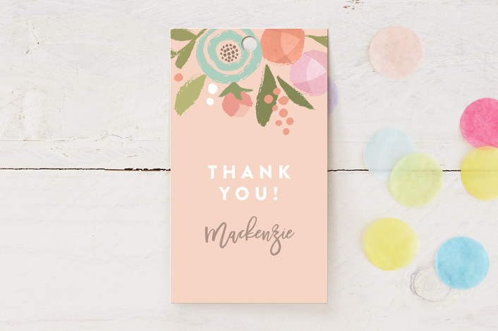 """""""Blooming Peonies"""" - Children's Birthday Party Favor Tags in Peach by Jennifer Wick."""