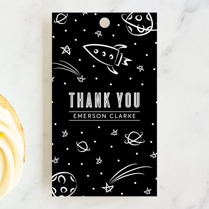 """""""Cosmic Doodles"""" - Children's Birthday Party Favor Tags in Ivory by Lehan Veenker."""