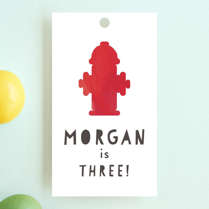 """Little Fireman"" - Children's Birthday Party Favor Tags in Ruby by Kanika Mathur."