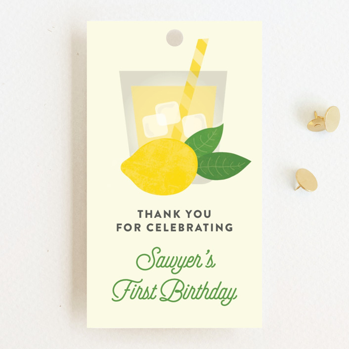 """""""Sweet One"""" - Children's Birthday Party Favor Tags in Lemonade by Erica Krystek."""