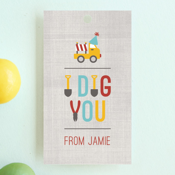 """""""Dig It"""" - Children's Birthday Party Favor Tags in Firetruck by Michelle Poe."""