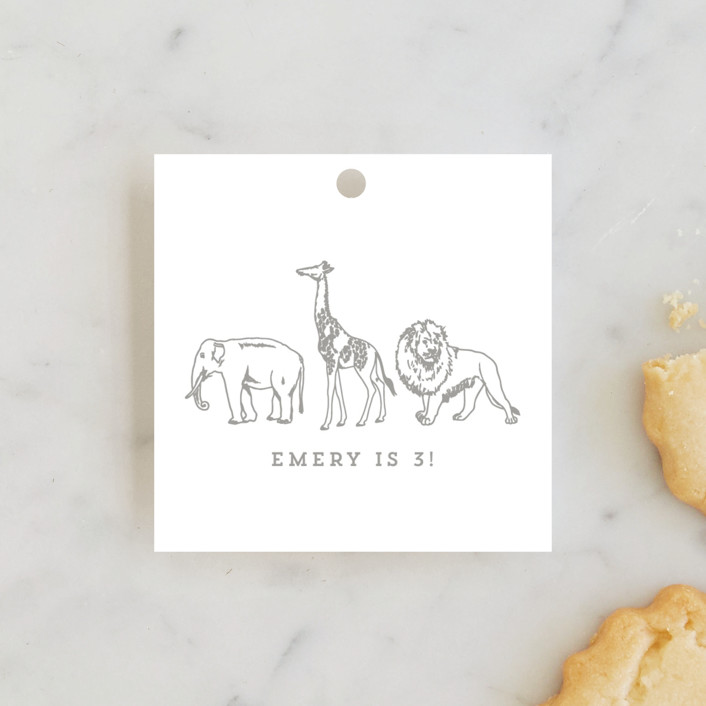 """""""Animal Parade"""" - Children's Birthday Party Favor Tags in Gold by Waldo Press."""