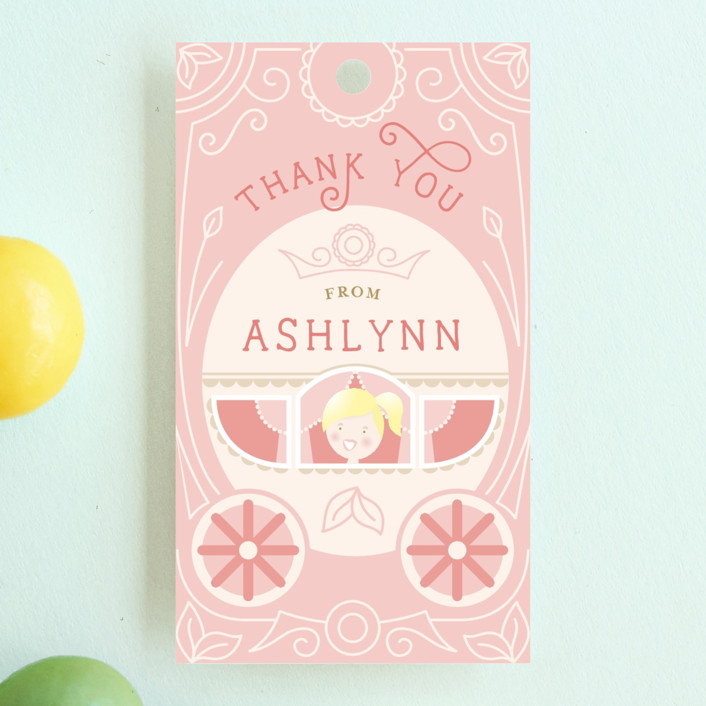 """""""Princess Carriage"""" - Children's Birthday Party Favor Tags in Cherry Blossom by Erin Niehenke."""