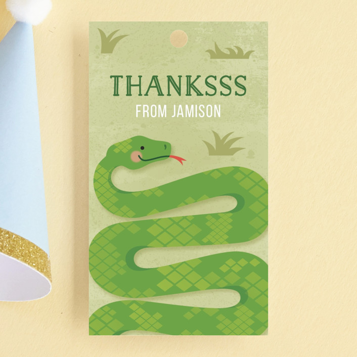 """Slithering Snake"" - Children's Birthday Party Favor Tags in Grass by Jessica Ogden."