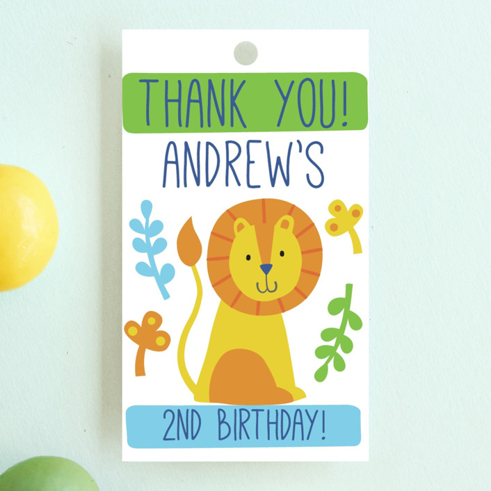 """""""Bright Jungle"""" - Children's Birthday Party Favor Tags in Navy by Kristen Cavallo."""