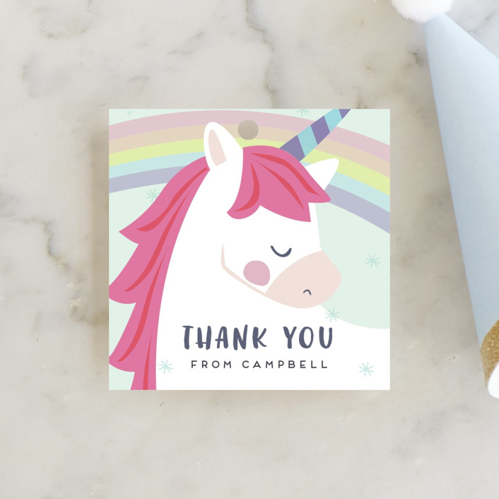 """unicorno"" - Children's Birthday Party Favor Tags in Bubblegum by peetie design."