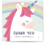 This is a gold kids gift tag by peetie design called unicorno with standard printing on signature in sticker.