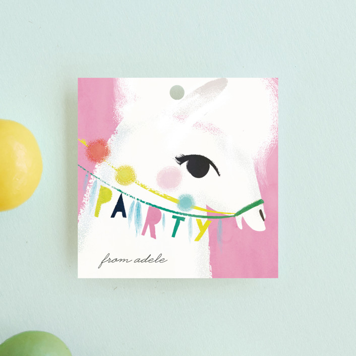 """Llama Birthday"" - Children's Birthday Party Favor Tags in Watermelon by Lori Wemple."
