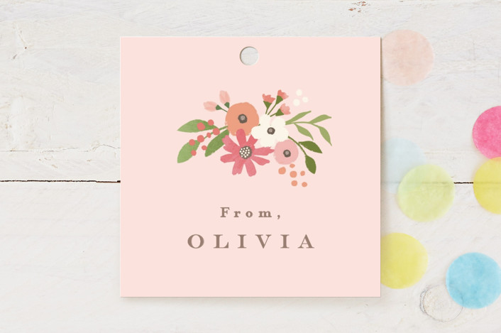 """""""Freshly cut flowers"""" - Children's Birthday Party Favor Tags in Carnation by Jennifer Wick."""