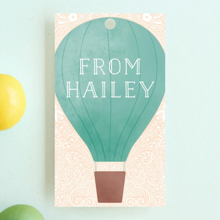 """Hot Air Balloon Birthday"" - Children's Birthday Party Favor Tags in Teal by Noonday Design."