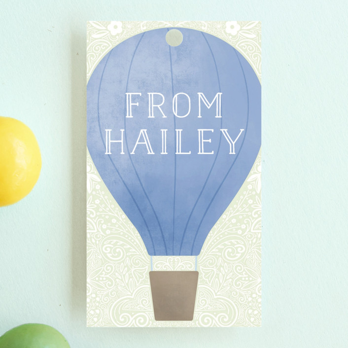 """""""Hot Air Balloon Birthday"""" - Children's Birthday Party Favor Tags in Teal by Noonday Design."""