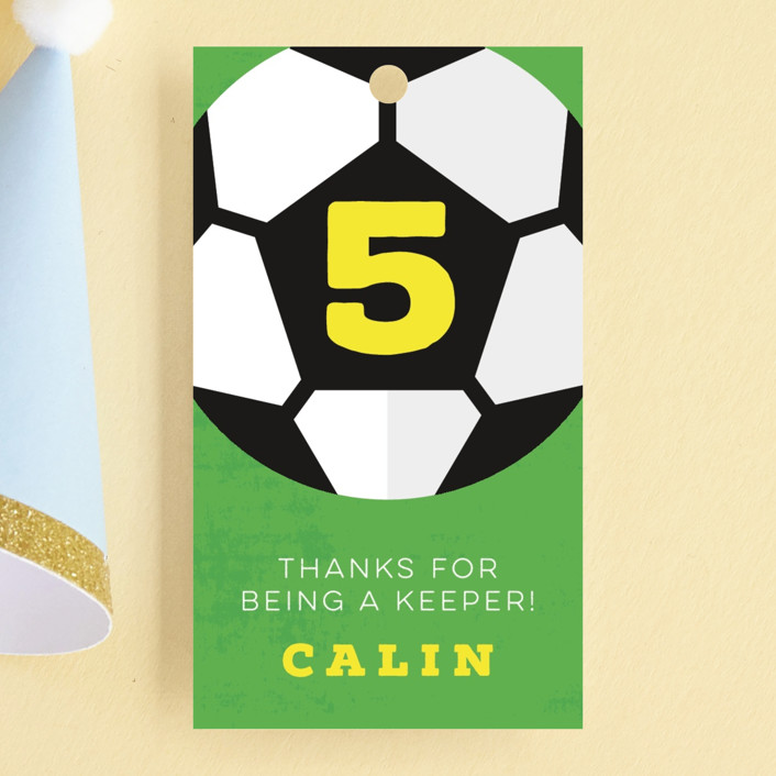 """""""Soccer"""" - Children's Birthday Party Favor Tags in Sunshine by Kate Ahn."""