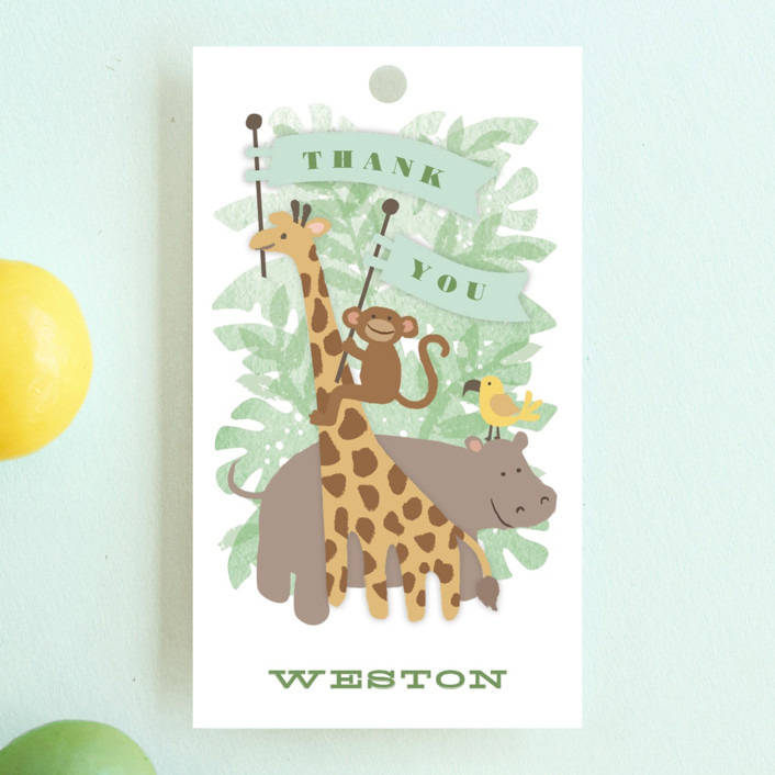 """""""Jungle One"""" - Children's Birthday Party Favor Tags in Jungle by Jennifer Wick."""