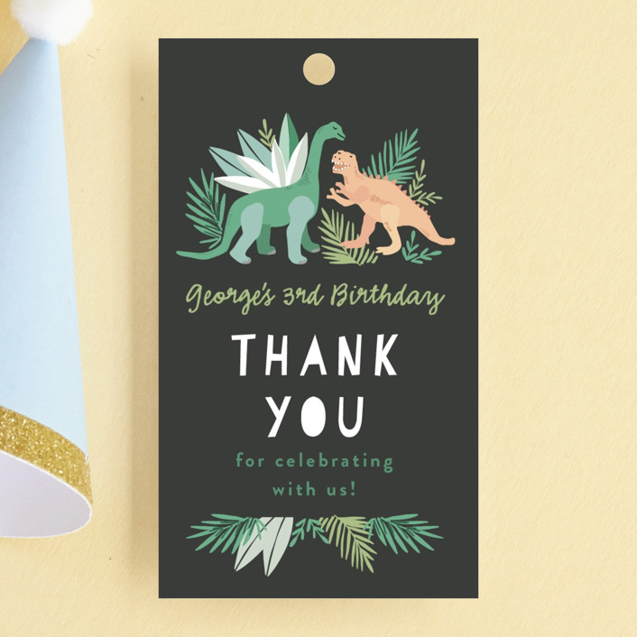 """""""Dino Friends"""" - Children's Birthday Party Favor Tags in Graphite by Alethea and Ruth."""