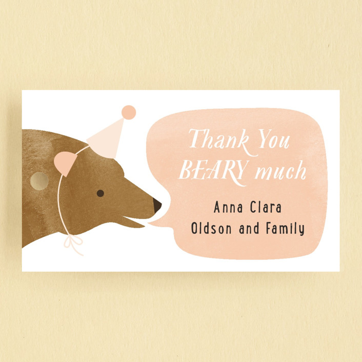 """""""Little Bear"""" - Children's Birthday Party Favor Tags in Peach by Just Eleanor."""