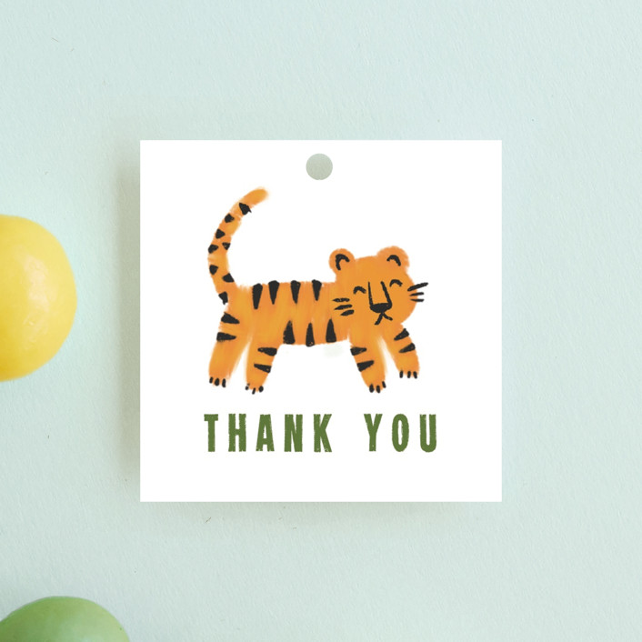 """""""Bear and Tiger"""" - Children's Birthday Party Favor Tags in Forest by iamtanya."""