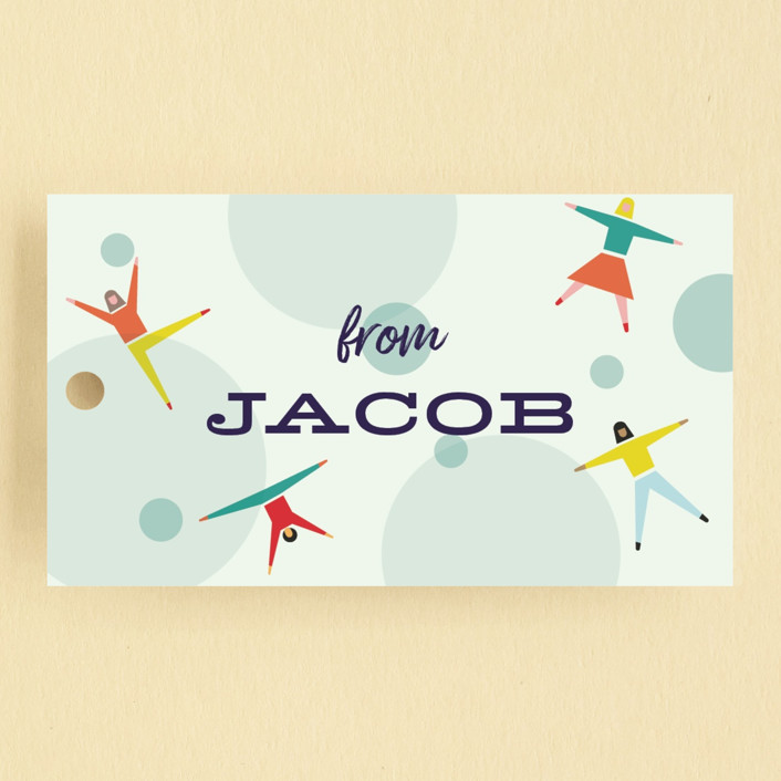 """Bounce into a birthday"" - Children's Birthday Party Favor Tags in Aquamarine by Heather Francisco."