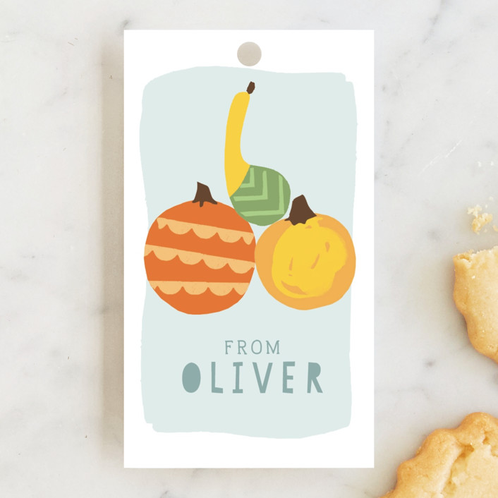 """""""Pumpkin Party"""" - Children's Birthday Party Favor Tags in Sky by Michelle Shanaman."""