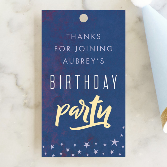 """""""PJ Party"""" - Children's Birthday Party Favor Tags in Midnight by Stellax Creative."""