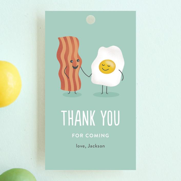 """Egg-cellent friend"" - Children's Birthday Party Favor Tags in Aquamarine by Jana Volfova."