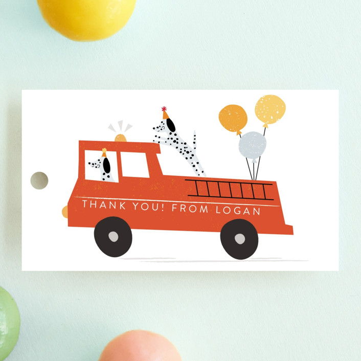 """""""Sound The Alarm!"""" - Children's Birthday Party Favor Tags in Dalmatian by Angela Thompson."""