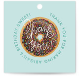 This is a brown kids gift tag by Jen Owens called donut party with standard printing on signature in sticker.