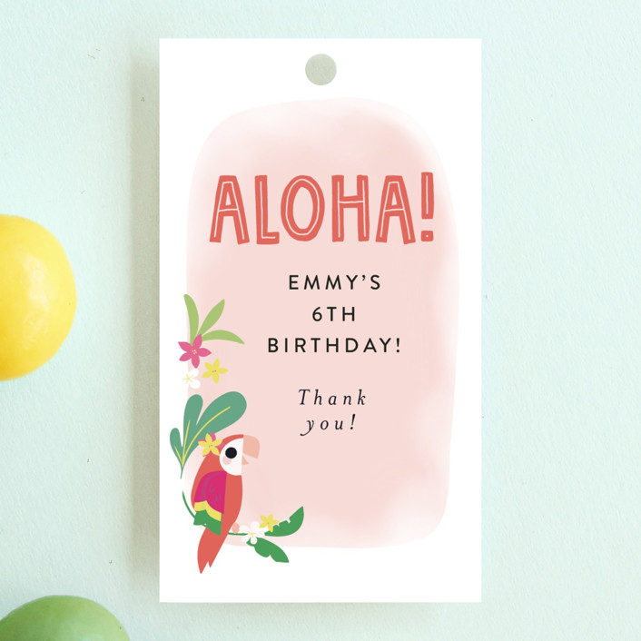 """""""Luau"""" - Children's Birthday Party Favor Tags in Petal by Itsy Belle Studio."""