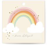 This is a brown kids gift tag by Kiersten Garner called Rainbow Birthday with standard printing on signature in sticker.