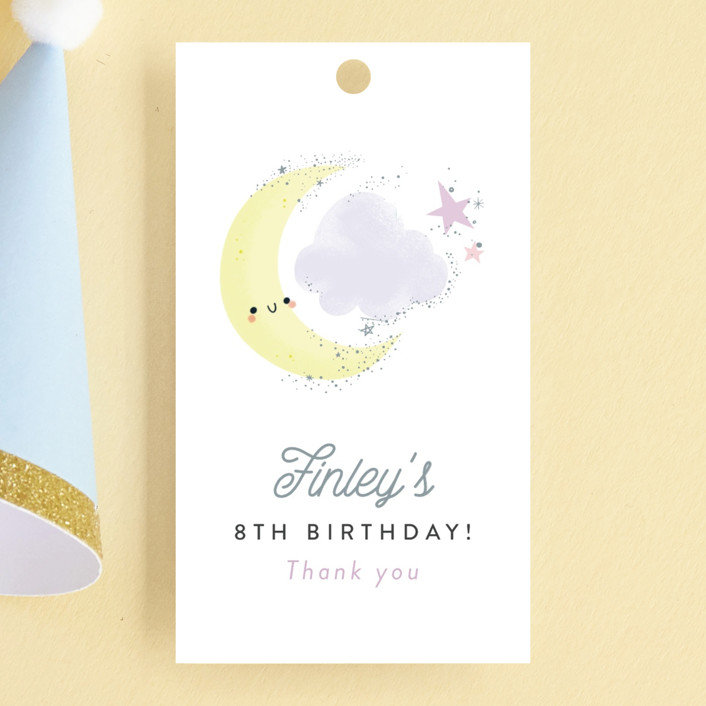 """""""Over the Moon"""" - Children's Birthday Party Favor Tags in Lavender by Itsy Belle Studio."""