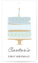 This is a blue kids gift tag by Oma N. Ramkhelawan called Brushed Cake with standard printing on signature in sticker.
