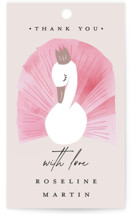 This is a pink kids gift tag by Kanika Mathur called Our Swan Princess with standard printing on signature in sticker.