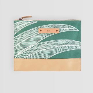 This is a green hand clutch bag by Katharine Watson called Sketched Willow in standard.