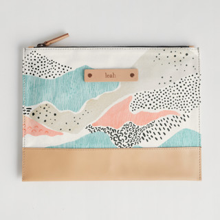 This is a blue hand clutch bag by Monika Drachal called Abstract View in standard.