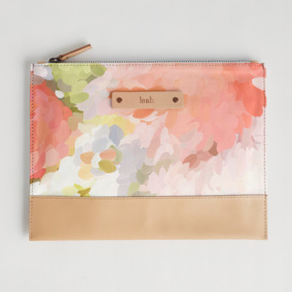 This is a pink hand clutch bag by Amy Hall called Spring Bloom in standard.