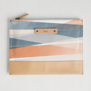 This is a blue hand clutch bag by Stephanie C Martinez called Pastel Beach in standard.