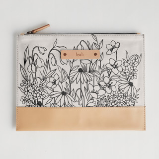 This is a black hand clutch bag by Karla Jodoin called Bohemian Florals in standard.