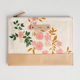 This is a pink hand clutch bag by Erin German called Botanical Cascade in standard.