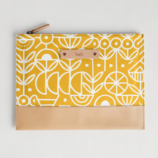 This is a yellow hand clutch bag by Michelle Taylor called Deconstruct in standard.