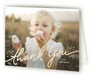 This is a gold thank you card by Creo Study called glittery hooray with foil-pressed printing on strathmore in standard.