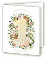 This is a pink thank you card by Susan Moyal called She's A Wild One with foil-pressed printing on strathmore in standard.
