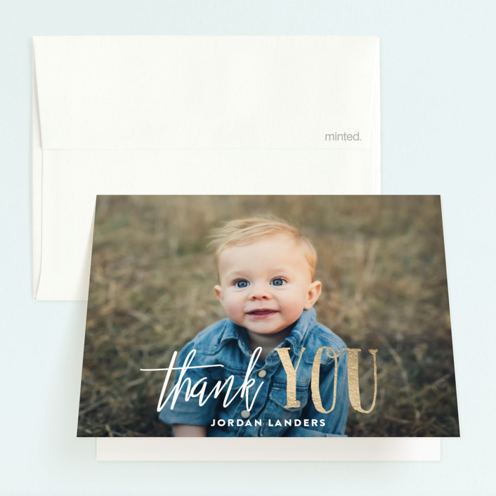 """It's Party Time!"" - Foil-pressed Children's Birthday Party Thank You Cards in Gold by Chasity Smith."